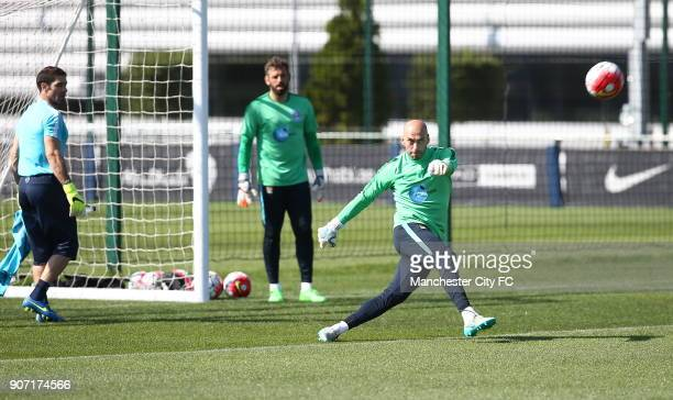 Barclays Premier League Manchester City Training City Football Academy Willy Caballero during training
