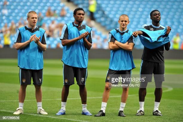 Barclays Premier League Manchester City Training City of Manchester Stadium Manchester City's Adam Clayton Kelvin Etuhu Vladimir Weiss and Kolo Toure