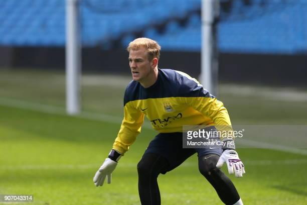 Barclays Premier League Manchester City Training Etihad Stadium Manchester City goalkeeper Joe Hart during training