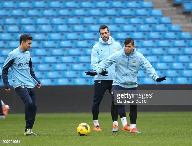 Barclays Premier League Manchester City Training Etihad Stadium LR Manchester City's Jesus Navas Alvaro Negredo and Sergio Aguero during training