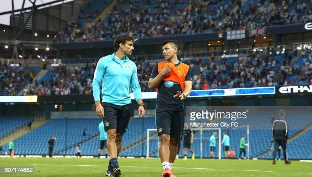 Barclays Premier League Manchester City Training Etihad Stadium Manchester City's Sergio Aguero and Jesus Navas during the open training session with...