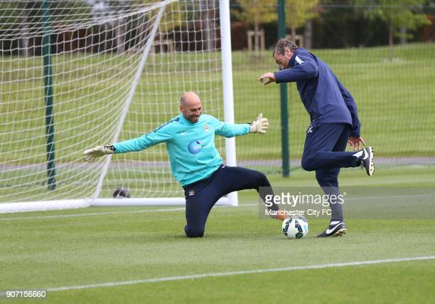 Barclays Premier League Manchester City Training Manchester City Football Academy Willy Caballero and assistant manager Ruben Cousillas Fuse during...
