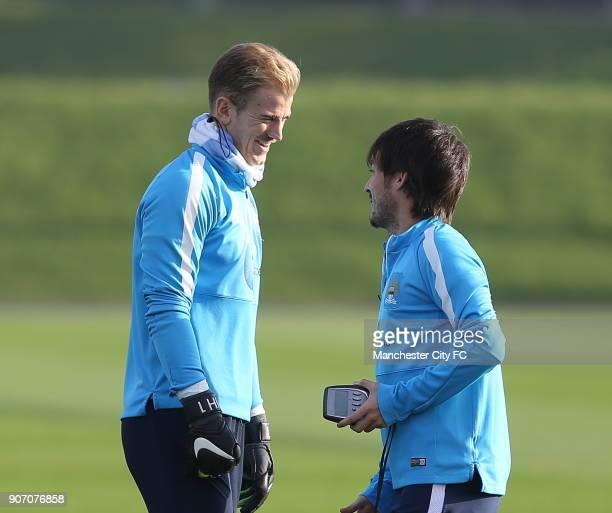 Barclays Premier League Manchester City Training Manchester City's Joe Hart and David Silva