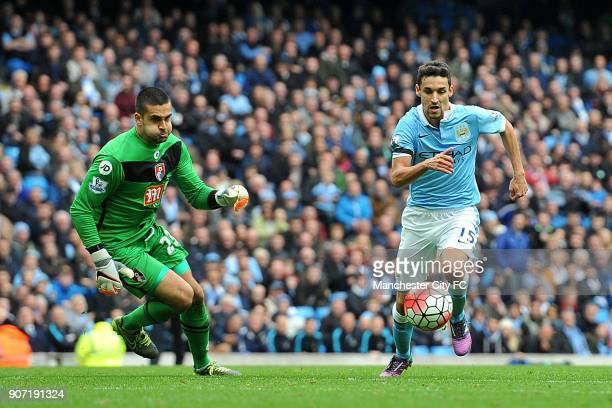 Barclays Premier League Manchester City v AFC Bournemouth Etihad Stadium Manchester City's Jesus Navas takes on Bournemouth's Artur Boruc during the...