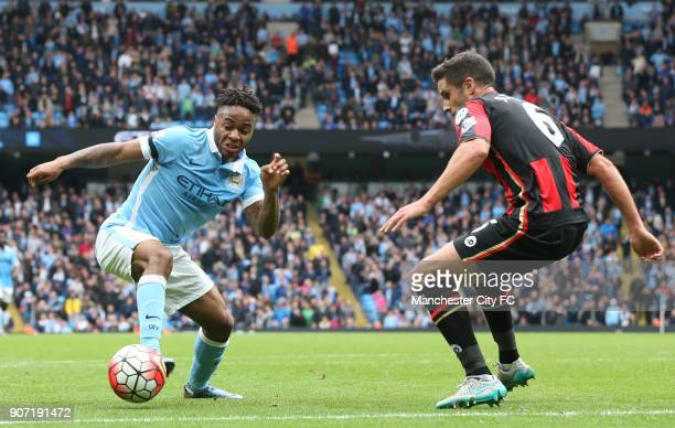 Barclays Premier League Manchester City v AFC Bournemouth Etihad Stadium Manchester City's Raheem Sterling battles for the ball with AFC...