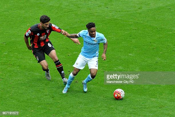 Barclays Premier League Manchester City v AFC Bournemouth Etihad Stadium Manchester City's Raheem Sterling takes on Bournemouth's Andrew Surman...