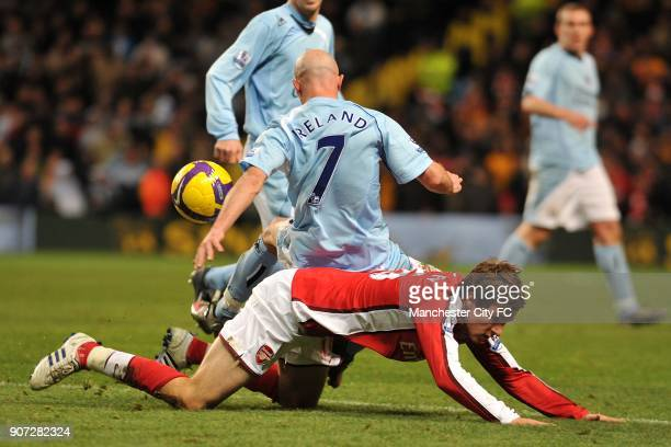 Barclays Premier League Manchester City v Arsenal City of Manchester Stadium Arsenal's Aaron Ramsey and Manchester City's Stephen Ireland battle for...