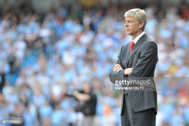 Barclays Premier League Manchester City v Arsenal City of Manchester Stadium Arsenal manager Arsene Wenger looks on on the touchline