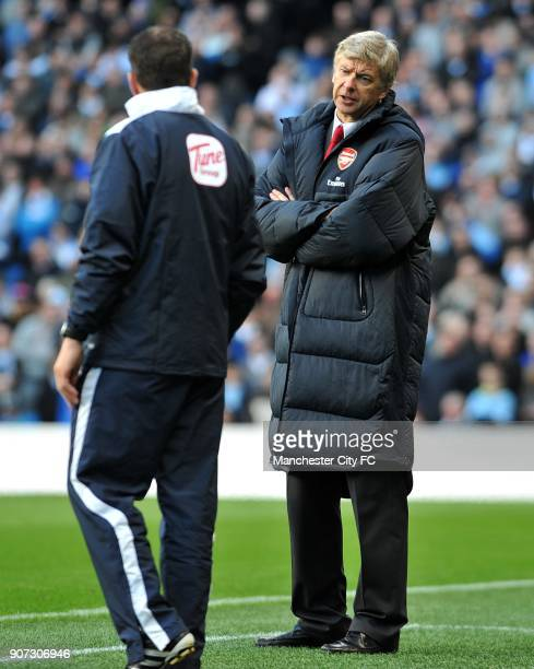 Barclays Premier League Manchester City v Arsenal City of Manchester Stadium Arsenal manager Arsene Wenger has words with the fourth official