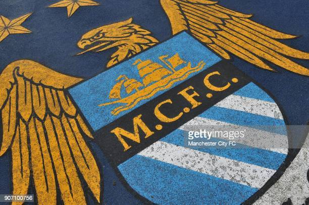 Barclays Premier League Manchester City v Arsenal Etihad Stadium A general view of a Manchester City logo at the Etihad Stadium