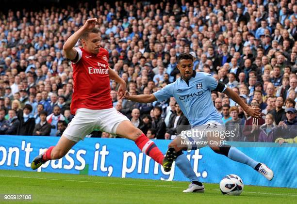 Barclays Premier League Manchester City v Arsenal Etihad Stadium Arsenal's Aaron Ramsey and Manchester City's Gael Clichy in action