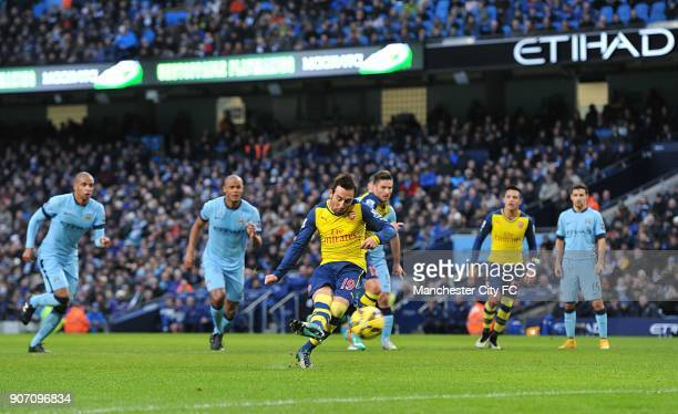 Barclays Premier League Manchester City v Arsenal Etihad Stadium Arsenal's Santi Cazorla scores his side's first goal from a penalty