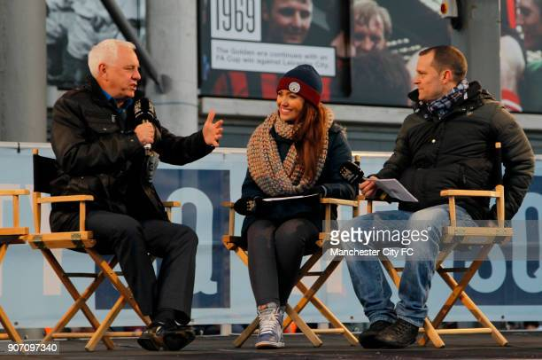 Barclays Premier League Manchester City v Arsenal Etihad Stadium Presenters Danny Jackson and Natalie Pike speak to Dave Spikey during pre match...