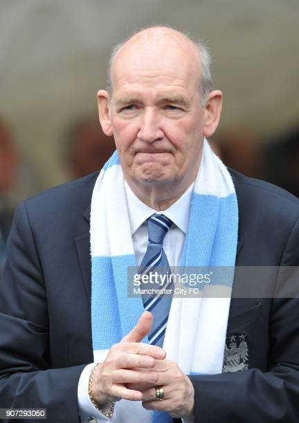 Barclays Premier League Manchester City v Aston Villa City of Manchester Stadium Longserving club secretary Bernard Halford is presented a shirt by...