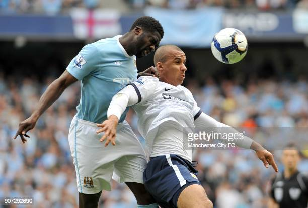 Barclays Premier League Manchester City v Aston Villa City of Manchester Stadium Manchester City's Kolo Toure and Aston Villa's Gabriel Agbonlahor in...