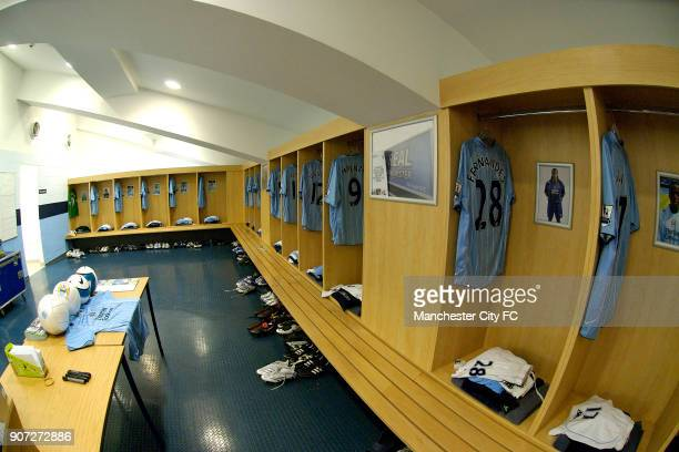 Barclays Premier League Manchester City v Aston Villa City of Manchester Stadium General view of the Manchester City changing room