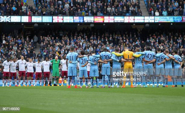 Barclays Premier League Manchester City v Aston Villa Etihad Stadium Manchester City and Aston Villa players observe a minute's silence held for...