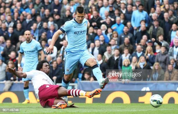Barclays Premier League Manchester City v Aston Villa Etihad Stadium Aston Villa's Carlos Sanchez challenges Manchester City's Sergio Aguero
