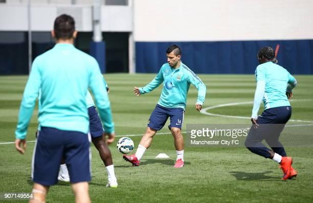 Barclays Premier League Manchester City v Aston Villa Manchester City Training City Football Academy Manchester City's Sergio Aguero and Bacary Sagna...