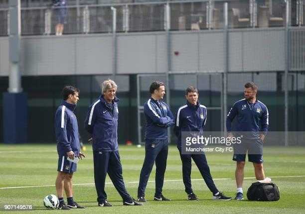 Barclays Premier League Manchester City v Aston Villa Manchester City Training City Football Academy Manchester City manager Manuel Pellegrini with...