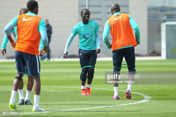 Barclays Premier League Manchester City v Aston Villa Manchester City Training City Football Academy Manchester City's Bacary Sagna during training