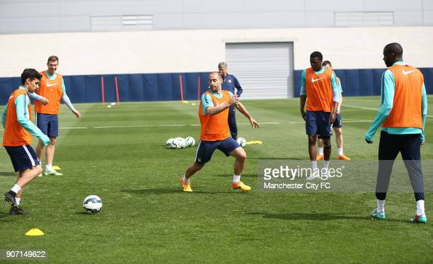 Barclays Premier League Manchester City v Aston Villa Manchester City Training City Football Academy Manchester City's Pablo Zabaleta during training