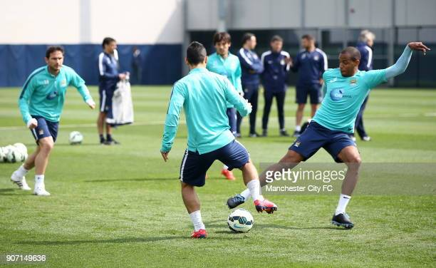 Barclays Premier League Manchester City v Aston Villa Manchester City Training City Football Academy Manchester City's Fernando in action during...