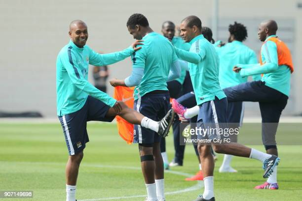 Barclays Premier League Manchester City v Aston Villa Manchester City Training City Football Academy Manchester City's Fernandinho during training