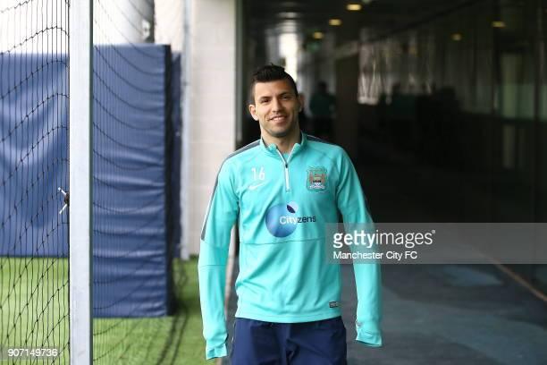 Barclays Premier League Manchester City v Aston Villa Manchester City Training City Football Academy Manchester City's Sergio Aguero during training