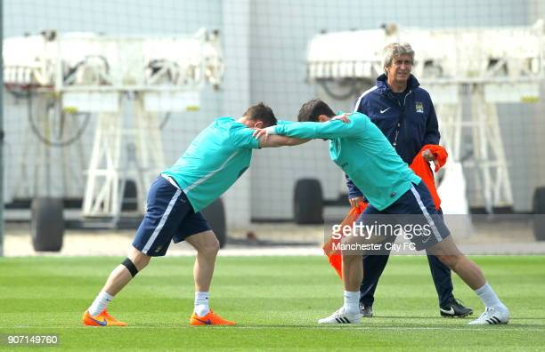 Barclays Premier League Manchester City v Aston Villa Manchester City Training City Football Academy Manchester City manager Manuel Pellegrini looks...