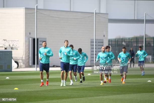 Barclays Premier League Manchester City v Aston Villa Manchester City Training City Football Academy Manchester City players during training