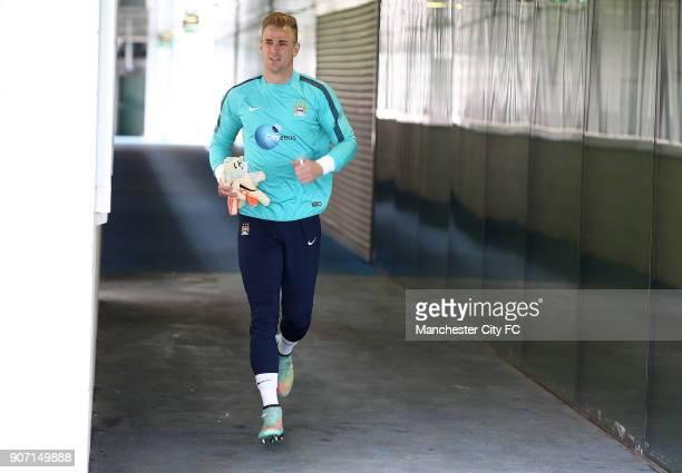 Barclays Premier League Manchester City v Aston Villa Manchester City Training City Football Academy Manchester City's Joe Hart during training