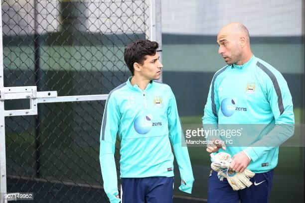 Barclays Premier League Manchester City v Aston Villa Manchester City Training City Football Academy Manchester City's Jesus Navas and Willy Caballa...