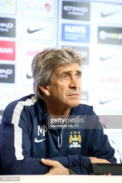 Barclays Premier League Manchester City v Aston Villa Manchester City Press Conference City Football Academy Manchester City manager Manuel...