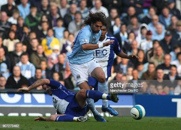 Barclays Premier League Manchester City v Birmingham City City of Manchester Stadium Birmingham City's Franck Queudrue and Manchester City's Georgios...