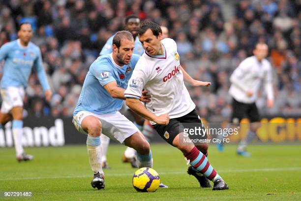 Barclays Premier League Manchester City v Burnley City of Manchester Stadium Burnley's Robbie Blake and Manchester City's Pablo Zabaleta battle for...