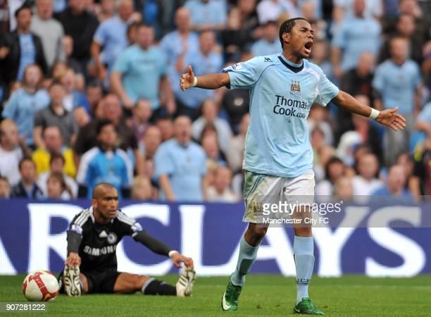 Barclays Premier League Manchester City v Chelsea City of Manchester Stadium Manchester City's De Souza Robinho reacts to a decision againt him