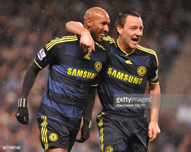 Barclays Premier League Manchester City v Chelsea City of Manchester Stadium Chelsea's Nicolas Anelka celebrates with team mate John Terry after...
