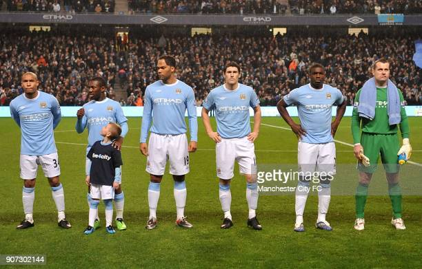 Barclays Premier League Manchester City v Chelsea City of Manchester Stadium The team line up prior to kick off Nigel De Jong Shaun WrightPhillips...
