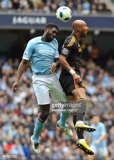 Barclays Premier League Manchester City v Chelsea City of Manchester Stadium Manchester City's Kolo Toure and Chelsea's Nicolas Anelka