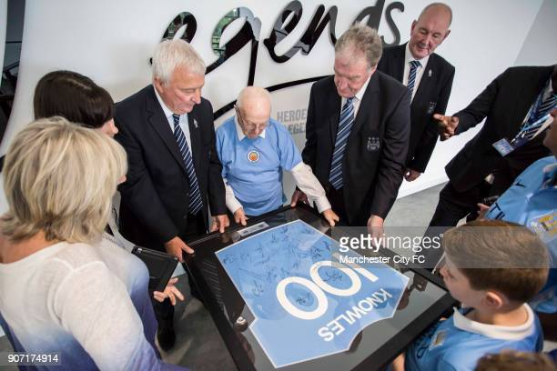 Barclays Premier League Manchester City v Chelsea Etihad Stadium 100 year old Albert Knowles formally opens the Legends Lounge with Mike Summerbee...