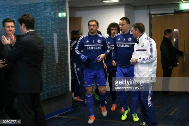 Barclays Premier League Manchester City v Chelsea Etihad Stadium Chelsea players Branislav Ivanovic David Luiz and John Terry in the tunnel prior to...