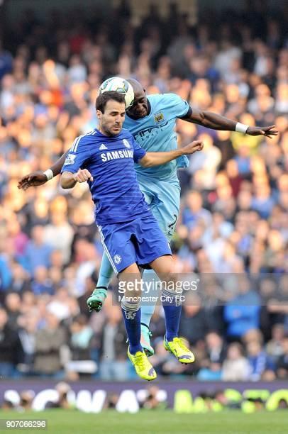 Barclays Premier League Manchester City v Chelsea Etihad Stadium Manchester City's Eliaquim Mangala and Chelsea's Francesc Fabregas battle for the...