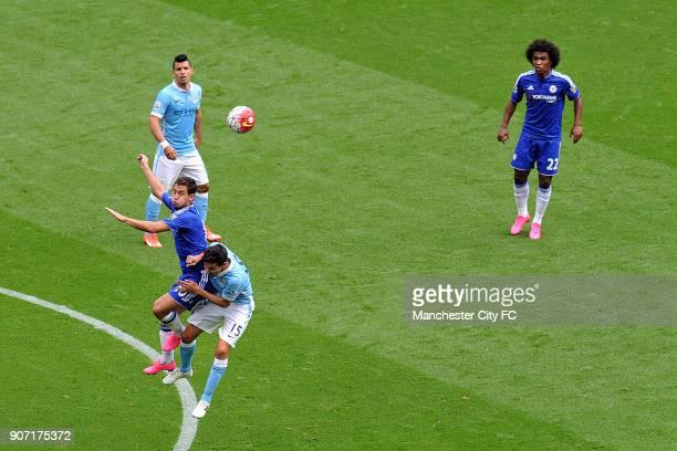 Barclays Premier League Manchester City v Chelsea Etihad Stadium Manchester City's Sergio Aguero Jesus Navas and Chelsea's Eden Hazard and Willian in...