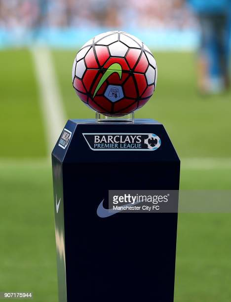 Barclays Premier League Manchester City v Chelsea Etihad Stadium The matchball on a plinth before the game