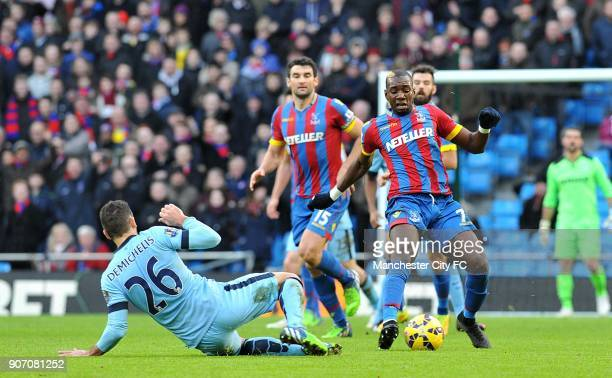 Barclays Premier League Manchester City v Crystal Palace Etihad Stadium Manchester City's Martin Demichelis and Crystal Palace's Yannick Bolasie...