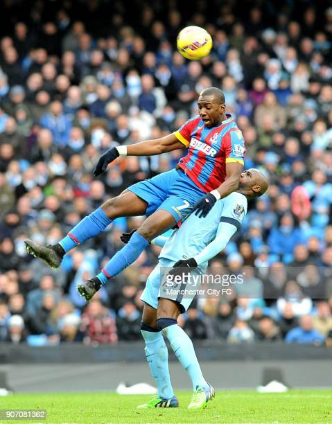 Barclays Premier League Manchester City v Crystal Palace Etihad Stadium Crystal Palace's Yannick Bolasie and Manchester City's Eliaquim Mangala...