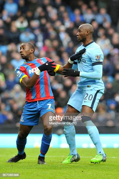 Barclays Premier League Manchester City v Crystal Palace Etihad Stadium Manchester City's Eliaquim Mangala battles for the ball with Crystal Palace's...