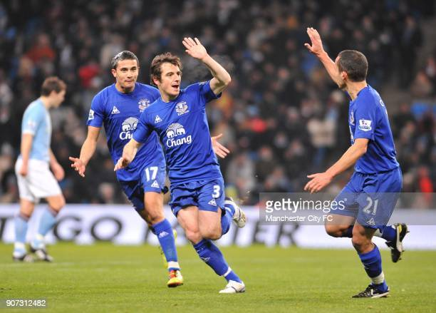 Barclays Premier League Manchester City v Everton City of Manchester Stadium Everton's Leighton Baines celebrates after scoring their second goal...