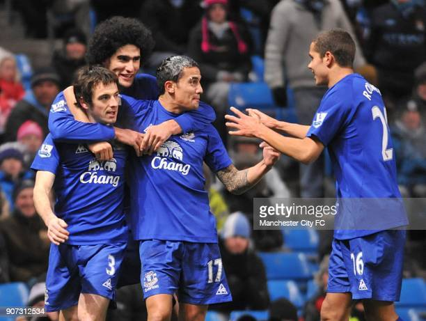 Barclays Premier League Manchester City v Everton City of Manchester Stadium Everton's Leighton Baines is congratulated by his team mates Marouane...